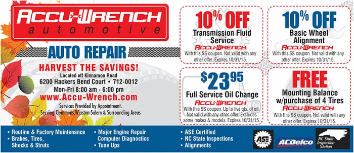 Coupon for oil change, air conditioning, tune-up, and tires